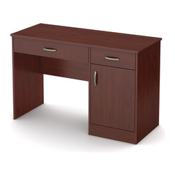 South Shore - Kids Small Work Desk in Cherry - Accessories not included. Metal handles in a pewter finish. Two storage spaces behind the door divided by one adjustable shelf. Each shelf support up to 30 lbs.. Cut out hole in the back panel allows for easy wire management. Small drawer for pens, pencils, a calculator and all those handy little items. Large drawer for laptop computer and books. Metal drawer slides for smooth gliding. Laminated particle board. Warranty: Five years. Made in Canada. Assembly required. 47.25 in. W x 18.75 in. D x 30.25 in. H (72 lbs.). Assembly InstructionsThis Axess work desk is the perfect answer to organize your childs room at a good price. The work surface is great for laying out homework or setting down a laptop.