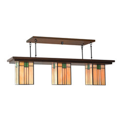 Mission Studio - Mission Style Lighting, Bungalow Chandelier #407 - Handcrafted in the USA is the Bungalow Chandelier #407 by Mission Studio.  Great for dining rooms, over a kitchen island, billiard lighting and large rooms.