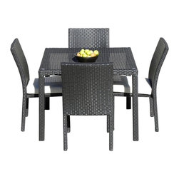 MangoHome - Outdoor Patio Wicker Furniture New Resin 5-Pc Square Dining Table & Chairs Set - Outdoor Patio Wicker Furniture New Resin 5-Piece Square Dining Table & Chairs Set