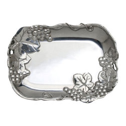 Arthur Court - Grape Catch All - Your car keys, sunglasses and mail just found a new home. But wait! This elegant tray multitasks too. You can use it to serve condiments, olives, nuts or crackers. Or, put it on your dresser to catch any spare change you toss its way.