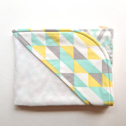 Mint Triangles Baby Towel Set - This towel would be so cuddly for baby. It is pricey, but think of all of the priceless photos you could have of baby getting out of the bathtub.