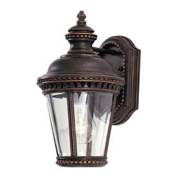 Murray Feiss - Murray Feiss Castle Outdoor Wall Mount Light Fixture in Grecian Bronze - Shown in picture: Castle Wall Mount Lantern in Grecian Bronze finish with Clear Bent Beveled Glass