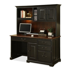 Riverside Furniture - Bridgeport Computer Desk with Hutch - Desk with one pull-out writing shelf above right-hand drawers.