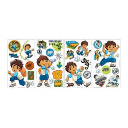 RoomMates Peel & Stick - Diego Wall Decals - Go, Diego, Go! Diego's adventures are coming right to your walls with this set of fun and colorful Wall Decals. Any adventurous little boy would appreciate these stickers on his walls. Make one or many scenes with Diego in various poses, and use the additional Wall Decals to decorate mirrors, bookshelves, headboards, or anything else in the room. Makes a great gift, too!