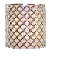 "8.6"" Wireless Crystal Glass Wall Sconce w/ Remote - Who needs and Electrician? This wall sconce can be hung anywhere, all you need is a screwdriver. Crafted from metal and over 80 crystals, this lamp can be used in a contemporize or traditional setting. You will find many uses for this in your home. Requires 3xD batteries which are not included. Included is a power cord and adapter if you choose to plug it in. Can also be used in a covered outdoor area.e"