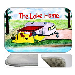 """usa - Camper The Lake Home Bath Mat,  20"""" X 15"""" - Bath mats from my original art and designs. Super soft plush fabric with a non skid backing. Eco friendly water base dyes that will not fade or alter the texture of the fabric. Washable 100 % polyester and mold resistant. Great for the bath room or anywhere in the home. At 1/2 inch thick our mats are softer and more plush than the typical comfort mats. Your toes will love you."""