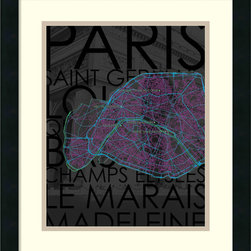 Amanti Art - David Fischer 'Neon Map III' Framed Art Print 17 x 20-inch - With neon details over tones of black and dark grey Neon Map III by David Fischer resets the standards of striking cartography.A great showcase for those who have been (or would love to go to) the city of Paris.