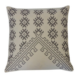 JITI - Fez Cream Embroidered Pillow - Tired of the same old stripes? This pillow is the perfect way to freshen up your favorite easy chair. Its decorative embroidery in geometric patterns will bring a global look to your home.