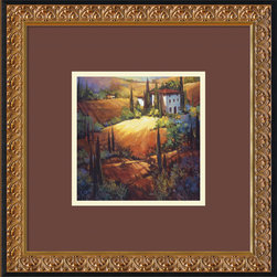 Amanti Art - Morning Light Tuscany Framed Print by Nancy O'Toole - Perfectly capturing the Tuscan landscape with the use of acrylics, this framed art will simultaneously look fantastic on your wall and begging for a vacation to the famous Italian countryside. Consider hanging this art as a less expensive way of hanging in Tuscany.