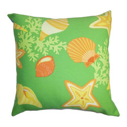 """The Pillow Collection - Jaleh Coastal Pillow Green Yellow - Get your outdoor space summer ready with this bright and fun throw pillow. This accent piece will turn your garden, patio or cabana from boring to exciting. The warm shades of yellow, orange, green and white fit perfectly with the summer theme. This square pillow is made from high-quality weather-resistant materials. Mix and match solids and other patterns with this 18"""" pillow for an unconventional outdoor look. Hidden zipper closure for easy cover removal.  Knife edge finish on all four sides.  Reversible pillow with the same fabric on the back side.  Spot cleaning suggested."""