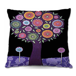 DiaNoche Designs - Pillow Woven Poplin - Purple Tree - Toss this decorative pillow on any bed, sofa or chair, and add personality to your chic and stylish decor. Lay your head against your new art and relax! Made of woven Poly-Poplin.  Includes a cushy supportive pillow insert, zipped inside. Dye Sublimation printing adheres the ink to the material for long life and durability. Double Sided Print, Machine Washable, Product may vary slightly from image.