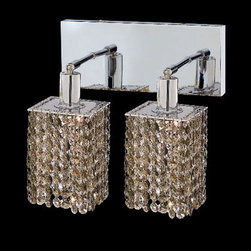 Elegant Lighting - Mini Square Chrome Two-Light Bath Fixture with Royal Cut Golden Teak Smoky Cryst - Royal Cut crystal is a combination of high quality lead free machine cut and machine polished crystals and full-lead machined-cut crystals to meet a desirable showmanship of an authentic crystal light fixture.  -Recommended to be professionally hung and supported independently of the outlet box. Consult an electrician for guidance to determine the correct hanging procedure.  -Crystals may ship separately and some assembly is required.  -Depending on the size & design the assembly can be time consuming, but is well worth the effort. Elegant Lighting - 1282W-O-S-GT/RC