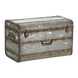 Zentique - Iron Box by Zentique - There are probably a zillion things that you could use a trunk for. The Iron Box from Zentique, with it's natural metal strapping and nail heads to the rustic latches and handle add authentic character. This trunk will double as a fabulous decorative item and a place to store some hide-always. (ZEN)