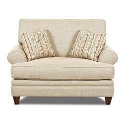 Klaussner - Upholstered Chair in Straw - Feel casual and carefree with the fresh looking Fresno collection. Low profiled arms curve ever so delicately. Accent arm pillows splash in color and texture to brighten up the Fresno and your home. This Fresno collection is so fresh and so clean.