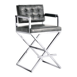 Sunpan - Sunpan Equinox Bonded Leather Counter Stool - Inspired by a director's chair,this exquisite stool features contemporary track arms,a button tufted back and an ultra sleek stainless steel x-base. Stocked in grey nobility bonded leather with California foam.