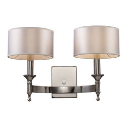 Elk Lighting - Elk Lighting Pembroke 2-Light Sconce in Polished Nickel - 2-Light Sconce in Polished Nickel belongs to Pembroke Collection by Unique In Form, The Pembroke Collection Features A Concave Arm Design For A Distinct Appearance. Light Silver Drum Shades And A Polished Nickel Finish Add To The Ambiance. Sconce (1)