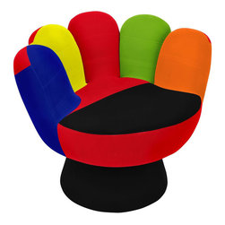 """Lumi Source - Mitt Chair in Multi - Shaped like a glove and brightly colored, this occasional furniture piece, The Mitt Chair, is ideal for kids, teens and adults who want to bring back a hint of youth to any decor. The chair is upholstered with a plush, easy-to-clean fabric.; Color: Multi; Seat Height: 17""""; Weight: 53 lbs; Note: Colors of patchwork may vary.; Dimensions: 32"""" D x 27.5"""" H"""