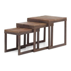 "Solid wood and metal nesting tables Civic Center (W15.7"" x D15.7"" x H16"") - Like many other our nesting tables, Civic center set is perfect saving space solution as well as very stylish accent. Every side table consists of solid elm wood table top and an antiqued metal frame."