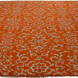 8'x10' Hand Knotted Wool and Silk Modern Orange Oriental Rug Sh18237 - Our Modern & Contemporary hand knotted rug collection contains some of the latest designs in the industry. The range includes geometric, transitional, abstract, and modern designs; from the Tibetans to the Gabbeh. We offer an entire line of contemporary designs, whether you're searching for sophisticated and muted to the vibrant and bold.