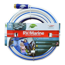 """Element ELMRV58050 Marine/RV Lead Free Drinking Water Safe 5/8"""" x 50' Water Hose - Lightweight to handle and easy to store for boats and RVs. USDA-approved tube materials for food contact use. Brass coupling with nickel plating."""