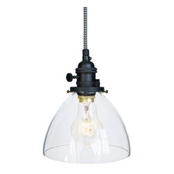 "Hammers & Heels - Hand Blown 6"" Clear Glass Chevron Cloth Cord Pendant Light - Handblown in the USA, this stunning clear glass shade pendant is the most versatile in our collections. From home kitchen to restaurant dining room this fixture is stately yet sophisticated enough to stand alone."