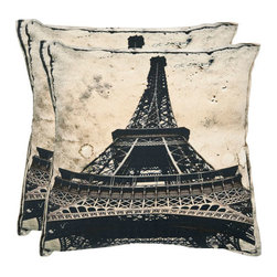 Safavieh Home Furniture - Paris 20-Inch Sand Decorative Pillows - Set of Two - - An international icon and favorite motif of interior designers, the Eiffel Tower is artfully printed on pure organic cotton in precise detail.  The sand colorway provides a neutral foil to any decorating palette for a pillow that will dress up the living room, bedroom and more.  - Please note this item has a 30-day manufacturer's limited warranty that covers product defects. Inspect your purchase upon delivery and notify us immediately with any concerns. Safavieh Home Furniture - PIL454A-2020-SET2