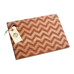 Richwood Creations - Solid Wood, Chevron Pattern Design Cutting Board, Cherry, Small - This laser engraved chevron pattern is a unique style of cutting board. Add some flare to your kitchen with a piece of handmade fashion! Available in cherry or maple wood, and also various sizes.