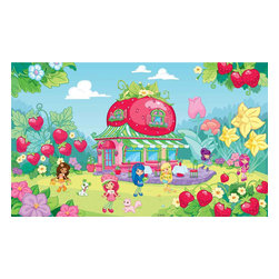 York Wallcoverings - Strawberry Shortcake Pink Giant Wallpaper Accent Mural - Features: