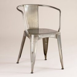 World Market - Metal Jackson Tub Chair - Since its conception in the early 20th century, tub chairs like our exclusive Metal Jackson Tub Chair have become classic favorites. Combining traditional straight and semicircular lines, it's updated with metal construction and wiry arms.
