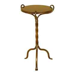 Welcome Home Accents - Twist Leg Marble Top Accent Table - Round accent table features scrolled iron stem in aged bronze with black marble top. Tripod base. Assembly required. Wipe with a dry cloth.