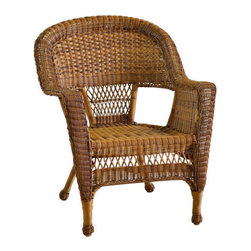 """Jeco - Honey Wicker Chair - """"With durable, all-weather resin wicker over a powder-coated steel frame, this chair is built to withstand anything life throws your way. Unlike real wicker which dries out and cracks, resin wicker is flexible and fade-resistant, which means it stays like new season after season. What's more, all-weather wicker doesn't absorb water and also allows for air flow, making it the perfect choice for the poolside! In addition, this chair is virtually maintenance-free and cleaning it is as simple as spraying it down with your garden hose or wiping it with a solution of mild dish soap and water. The chairs even stack for easy, off-season storage. A charming blend of classic elegance and lasting function, this lounge chair is just what you need to unwind in style after a day's work."""
