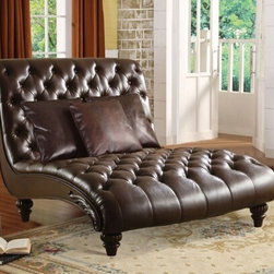 "Acme - Anondale 2 Tone Espresso Leather-Like Armless Chaise Lounger - Anondale 2 tone espresso leather like armless chaise lounger with tufted back and seats with a wood panel trim. This chaise features a leather like upholstery with a tufted back and seat with wood legs and side paneling. Measures 70"" x 52"" x 45"" H. Some assembly required."