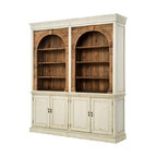 Four Hands - Stanford 3 Part Cabinet - This impressive cabinet has the look of a treasured heirloom —with a twist. Most of the exterior sports a hand-painted and distressed French country finish while the upper shelves let the rustic grains of reclaimed wood show through. Beautiful and versatile, it would work well in any room of your house.