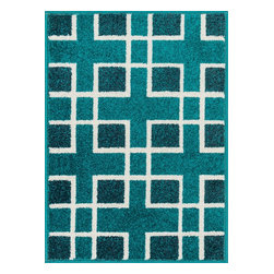 "Loloi Rugs - Loloi Rugs Terrace Collection - Peacock / Ivory, 1'-8"" x 5' - Bold design and bright colors come together beautifully in the outdoor-friendly Terrace Collection. Each Terrace rug is power loomed in Egypt of 100% polypropylene that's specially treated to withstand rain and UV damage without staining or fading color.�"