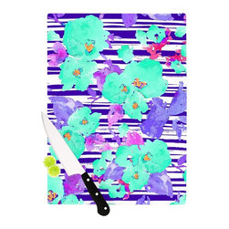 """Kess InHouse - Emine Ortega """"Cherry Blossom"""" Teal Purple Cutting Board (11"""" x 7.5"""") - These sturdy tempered glass cutting boards will make everything you chop look like a Dutch painting. Perfect the art of cooking with your KESS InHouse unique art cutting board. Go for patterns or painted, either way this non-skid, dishwasher safe cutting board is perfect for preparing any artistic dinner or serving. Cut, chop, serve or frame, all of these unique cutting boards are gorgeous."""