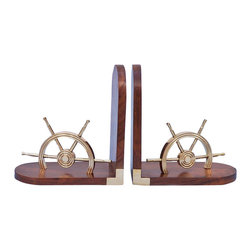 Handcrafted Model Ships - Wheel Book Ends Coastal Living Beach Living Room Ideas Nautical Decorative - New - The Hampton Nautical solid brass Ship Wheel Bookends is truly a great nautical gem and is a great addition to any bookcase. This is a set of two bookends. These sturdy bookends are made of Shisham wood, which is a rare wood with a smooth polished finish. Each wood bookend features half a real solid brass ship wheel on each end.
