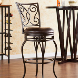 """Wildon Home � - Bradley Swivel Stool - Improve your home with stylish convenience. The elegant scrollwork and curved legs of this stool create a refined, contemporary look. A powder-coated, hammered bronze finish and durable steel frame deliver lasting quality. It features height seating, a cozy foam seat covered in rich dark brown vinyl, and a scrolled backrest. A full 360 degree swivel and footrest ring provide comfort and ease. The curvaceous form and attractive finish coordinate with traditional to contemporary décor styles. Ideal for the kitchen, breakfast nook, bar, or dining area. The handcrafted touch of artisan skill also creates variations in color and design; slight differences should be expected. Features: -Hammered bronze finish with rich dark brown seat cushion. -Constructed of powder-coated steel, vinyl, particle board, and polyurethane foam. -Sturdy steel frame with luxurious vinyl seat and fire-retardant foam cushion. -Smooth 360 degree swivel. -Convenient footrest ring for ultimate comfort. -Curved backrest for optimum support. Dimensions: -Backrest: 17.75"""" H x 17.25"""" W. -Cushions thickness: 3"""". -25.25-in. Seat: 25.25"""" H x 16.75"""" Dia.. -25.25-in. Footrest height: 7"""". -29.75-in. Seat: 29.75"""" H x 16.75"""" Dia.. -29.75-in. Footrest height: 11"""". -25.25-in. Overall: 39.25"""" H x 20.75"""" W x 23"""" D, 28 lbs. -29.75-in. Overall: 44.25"""" H x 21.5"""" W x 23"""" D, 30 lbs. -Max weight capacity: 250 lbs."""