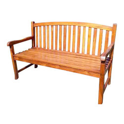 "Master Garden Products - Teak Java Bench with Arc Top Back Support, Three Seater - We use solid Indonesian plantation teak to build our line of teak benches. This beautiful, elegant Java Bench with arch top back support will make a wonderful addition to your home and garden. 60"" wide three seater."