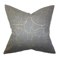 "The Pillow Collection - Eames Floral Pillow Gray 18"" x 18"" - Sleek and modern, this throw pillow creates a polish look to any of your rooms. This accent pillow features a minimalist floral pattern which adorns a sfot gray background. You can use this decor pillow anywhere inside your home from your living room to your bedroom. Blend in with solids and other patterns for a unique decor style. Hidden zipper closure for easy cover removal.  Knife edge finish on all four sides.  Reversible pillow with the same fabric on the back side.  Spot cleaning suggested."