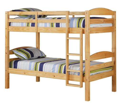 Walker Edison - Walker Edison Twin/Twin Solid Wood Bunk Bed in Natural - Walker Edison - Bunk Beds - BWSTOTNL - Crafted from beautiful solid wood, this contemporary bunk bed is functional, sturdy and exceptionally stylish. Full length guardrails and an integrated ladder designed with safety in mind. A great solution for any space-saving needs, this bunk bed easily converts into two individual beds for versatility. This stunning, solid construction is sure to please any growing family.