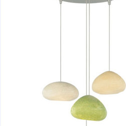 Tech Lighting - River Rock Chandelier - This River Rock Ceiling Chandelier featuring four shades is inspired by rocks along a river bed and captured through a hand-blown glass process consisting of one Oblong Oval shape in Blue Slate, one Round shape in Sand, one Wedge shape in Green Slate, and one Wedge shape in Pebble Brown Pendants. Finish in Satin Nickel or Antique Bronze.  All pendants are suspended from a FreeJack 4 Port Round canopy included. Includes four 35 watt 12 volt halogen bi-pin lamps. Each pendant includes six feet of field-cuttable suspension cable.  For best appearance it is recommended that the pendants be hung 12, 14, 17 and 22 inches in length.  13 inch diameter.