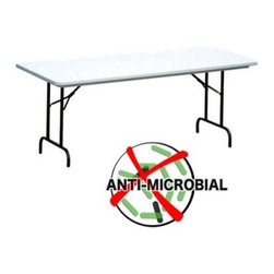 Correll 72 in. Rectangle Anti-Microbial Folding Table - Grey - No situation is too rough for the Correll 72 Inch Anti-Microbial Folding Table. Built to commercial standards using high quality materials, this lightweight, portable, folding table is ideal for everything from boardroom meetings to kids' birthday parties. It has a durable base made from heavy duty steel with a black finish. The tabletop is waterproof, virtually indestructible one-piece blow-molded plastic, with no seams that can capture germs and debris. It resists damage from the most abrasive of materials, including gasoline, paint remover, battery acid, and drain cleaner. And it wipes clean, too - permanent markers and paint can be removed without damaging the surface.This table is available in your either 29-inch or 36-inch height (based on availability). It measures 72L x 30W inches.