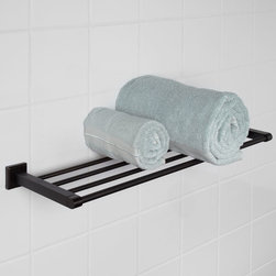 Haskell Towel Rack - Add storage space to your bathroom with the Haskell Collection Towel Rack. This rack displays four classic style rails and elegantly shaped square mounting base plates.