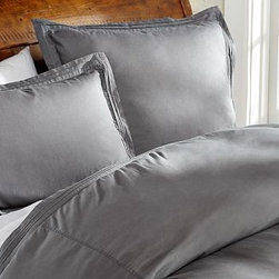 Casual Cotton Duvet Cover, King/Cal. King, Flagstone Gray - A great choice for the bedroom or guestroom, our pin-tucked bedding has the soft, casual character of a favorite pair of jeans. Made of pure cotton. Duvet cover and sham reverse to self. Duvet cover has interior ties and a button closure. Sham has an envelope closure. Duvet cover, sham and insert sold separately. Machine wash. Imported.