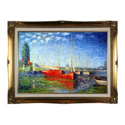 NA - Claude Monet 'Red Boats at Argenteuil' Hand Painted Framed Canvas Art - Artist: Claude MonetTitle: Red Boats at ArgenteuilProduct type: Hand-painted Framed Canvas Art
