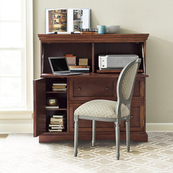 Ballard Designs - Large Eastman Secretary - Cord management throughout. Antique bronze pulls. Crafted of hardwood & veneers. Behind its finely crafted exterior hides a smartly designed workstation with all the little extras you need to make quick work of paperwork. Top compartment opens on safety-glide hinges to reveal a spacious workspace and slide-out printer tray. Top center drawer stores supplies. Lower center drawer holds letter or legal-size files. Double faux front drawers on both the left and right conceal a spacious cabinet area with removable shelf.Eastman Secretary features: . . .