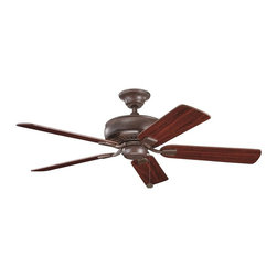 "BUILDER FANS - BUILDER FANS Saxon 52"" Transitional Ceiling Fan X-ZT210933 - This Kichler Lighting ceiling fan from the Saxon Collection features dark tones that give it a unique masculine appeal despite the soft feminine lines. It blends a warm Tannery Bronze hue with reversible cherry/teak fan blades for a modern but elegant look."