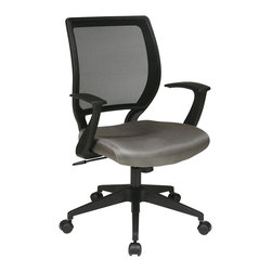 """Office Star - Office Star EM Series Screen Back Task Chair with T Arms in Grey - Office Star - Office Chairs - EM51022N2 - Screen Back and Mesh Seat Task Chair with """"T"""" Arms. Locking tilt control with adjustable tilt tension. Fixed designer arms. Heavy duty angled nylon base with dual wheel carpet casters. Available in grey (-2)."""