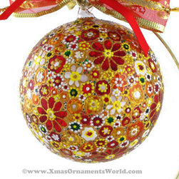 """Joy"" Glass Ornament, Stained Glass Technique, Limited Edition - This limited-edition unique and exclusive Christmas ball is made of hand blown glass and painted using stained glass painting technique. Each ball is hand painted with a special glass paint, which lets the light through. This one of a kind ball would look fantastic on a Christmas tree or as a stand alone ornament. It is a great gift to an adult or a child! The ball is finished with a protective layer of lacquer."