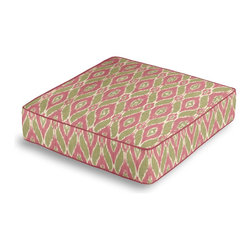 Pink & Green Handwoven Ikat Box Floor Pillow - Extra seating that is so good looking you won't want to store it away.  Our Box Floor Pillow is perfect for your next coffee table dinner party, fire place snuggle session, or playroom sleepover.  We love it in this pink & green handwoven diamond ikat.  an artisan classic straight from india to your home.
